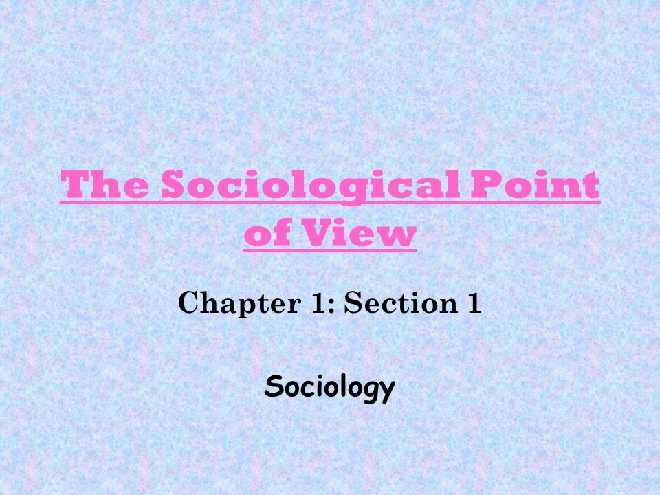 The Sociological Point of View Chapter 1: Section 1 Sociology