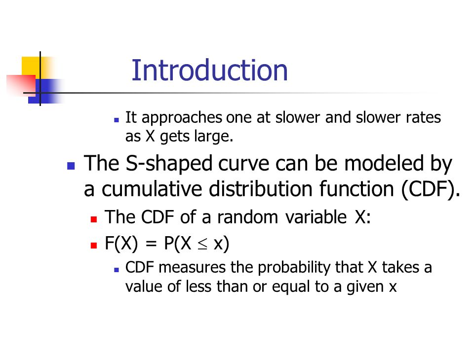 Introduction It approaches one at slower and slower rates as X gets large.