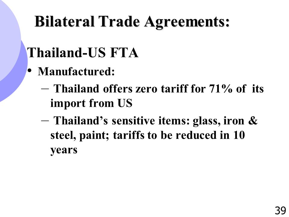 1 international trade policy of thailand 2 outline 1 39 39 bilateral trade agreements thailand us fta manufactured thailand offers zero tariff for 71 of its import from us thailands sensitive items platinumwayz