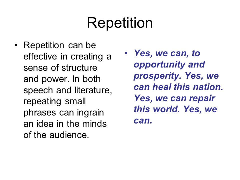 Repetition in speech