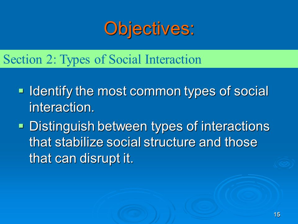15 Objectives:  Identify the most common types of social interaction.