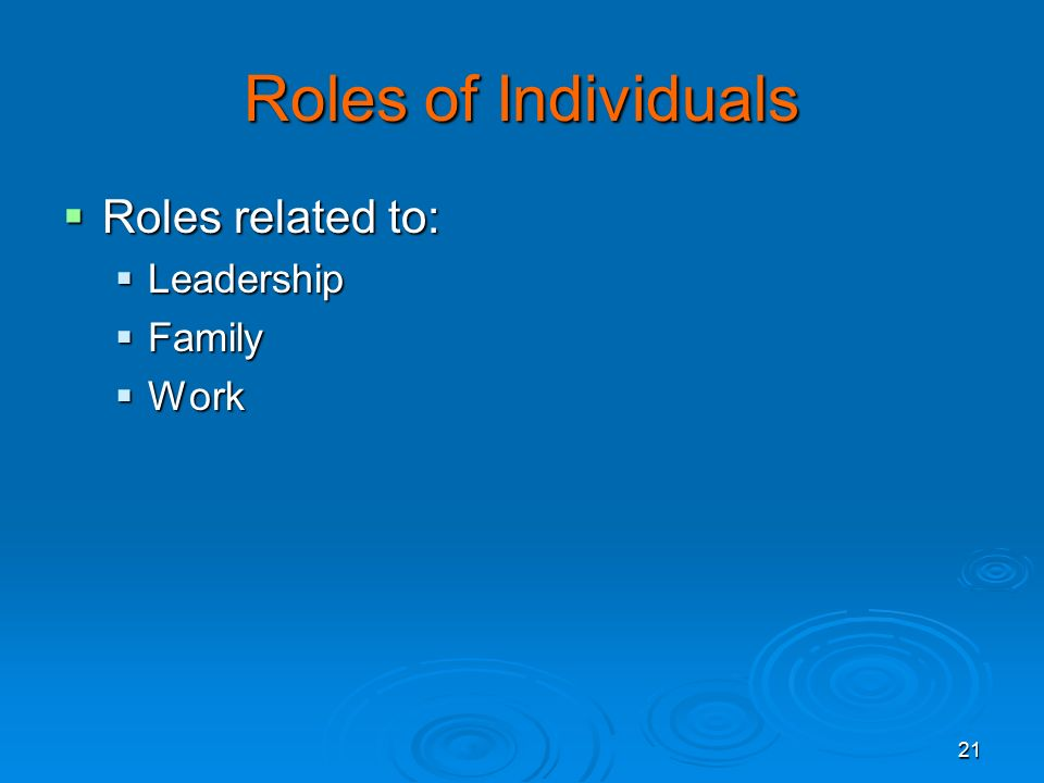 21 Roles of Individuals  Roles related to:  Leadership  Family  Work