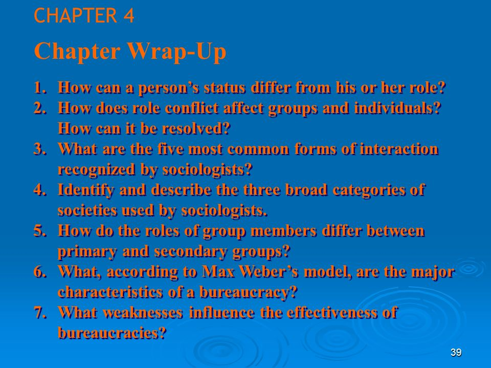 39 Chapter Wrap-Up 1.How can a person's status differ from his or her role.