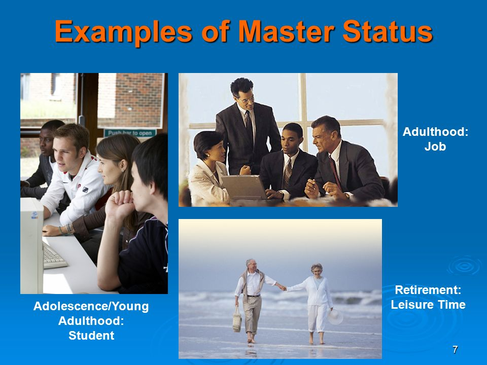 7 Examples of Master Status Adolescence/Young Adulthood: Student Adulthood: Job Retirement: Leisure Time
