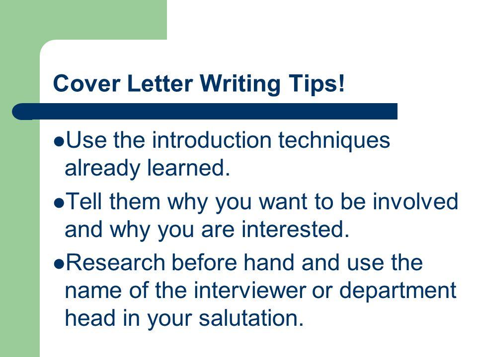 cover letter writing tips internship