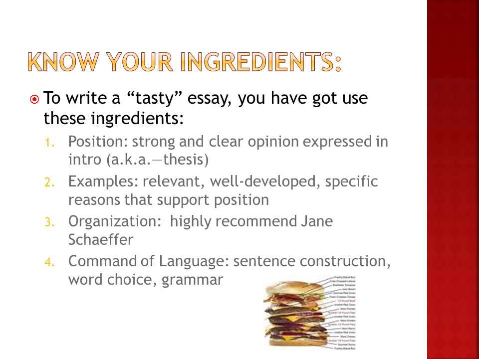 "the ""fast food"" essay ideas from ppt  to write a tasty essay you have got use these ingredients 1"