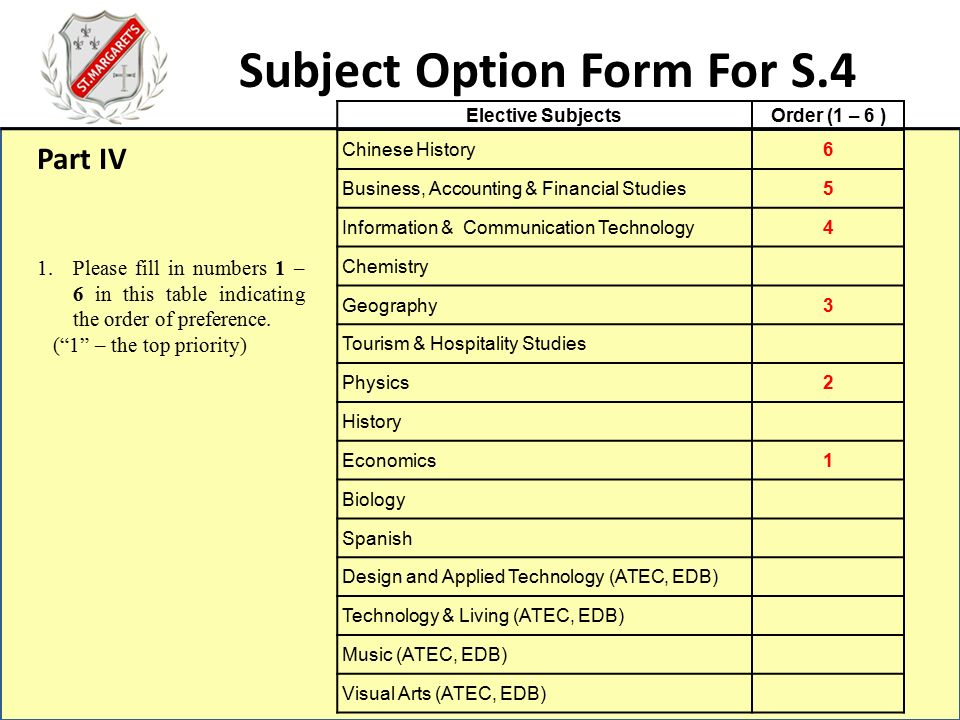 Subject Option Form For S.4 Subject Combinations of S.4 Block A ...