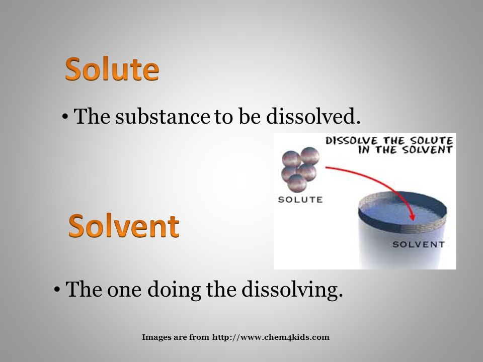 The substance to be dissolved. The one doing the dissolving.