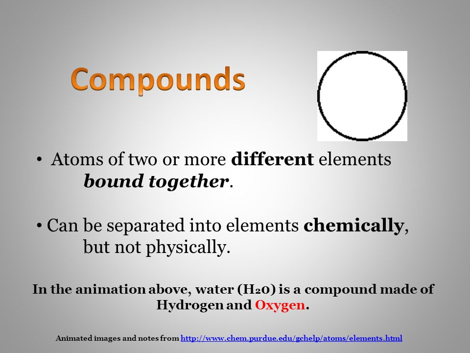 Animated images and notes from   Atoms of two or more different elements bound together.