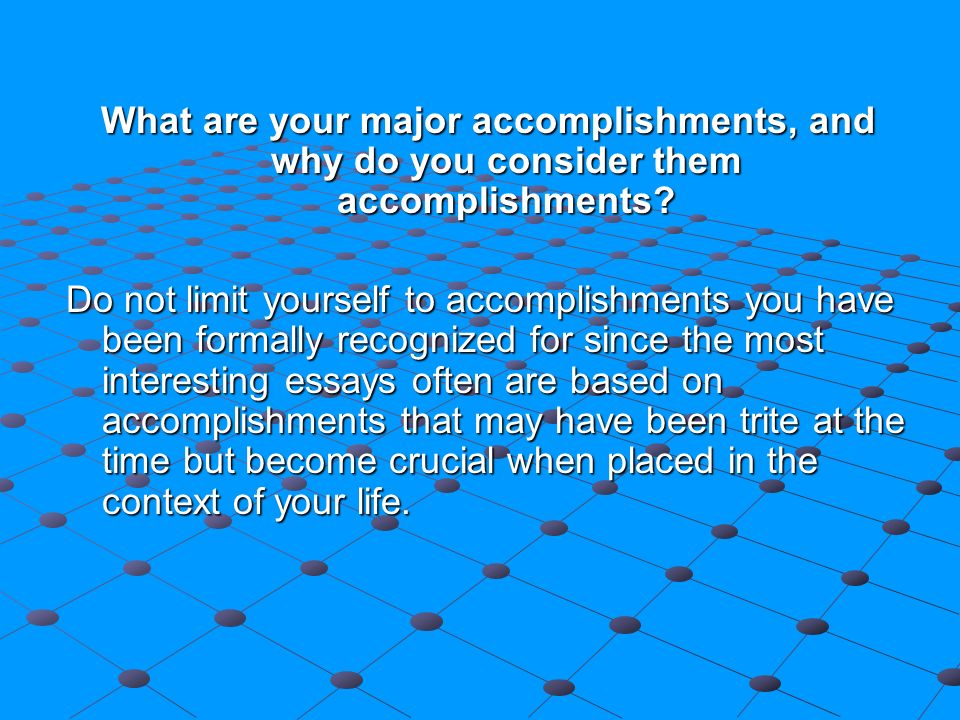 major accomplishment + essay Form # rr 0500004 revision b writing accomplishment statements although resumes and cover letters should be accomplishment-driven (not simply focusing on duties and responsibilities), many job-seekers have difficulty pinpointing their accomplishments.
