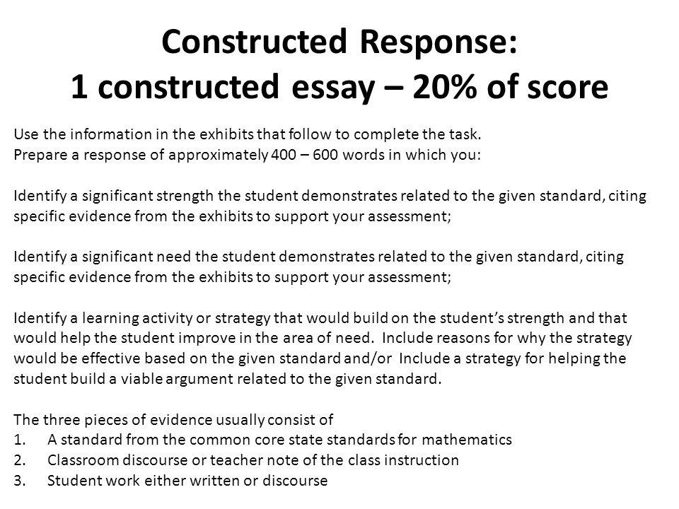 types of constructing an essay examination Constructing and scoring essay tests an essay test permits direct assessment of the attainment of numerous goals and objectives an essay test demands less construction time per fixed unit of student time but a significant increase in labor in time and scoring.
