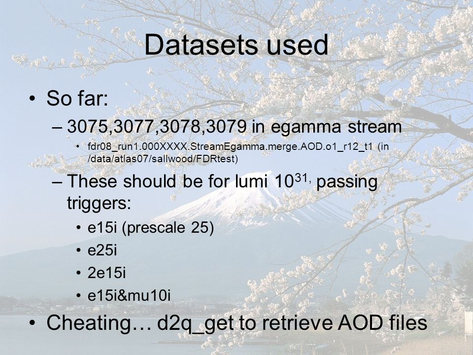 Datasets used So far: –3075,3077,3078,3079 in egamma stream fdr08_run1.000XXXX.StreamEgamma.merge.AOD.o1_r12_t1 (in /data/atlas07/sallwood/FDRtest) –These should be for lumi 10 31, passing triggers: e15i (prescale 25) e25i 2e15i e15i&mu10i Cheating… d2q_get to retrieve AOD files
