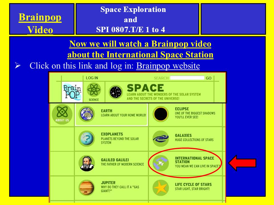Now we will watch a Brainpop video about the International Space Station  Click on this link and log in: Brainpop websiteBrainpop website Brainpop Video Space Exploration and SPI 0807.T/E 1 to 4
