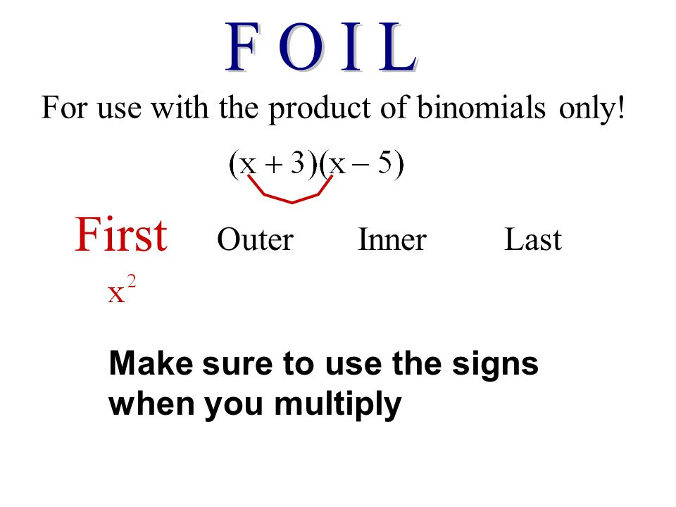 For use with the product of binomials only.