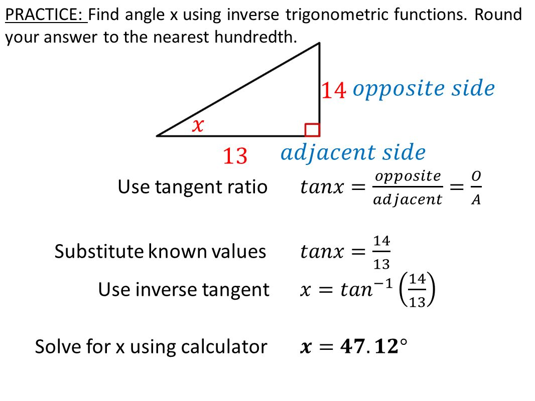 worksheet Inverse Trigonometric Ratios today in review soh cah toa learning target 1 practice find angle x using inverse trigonometric functions