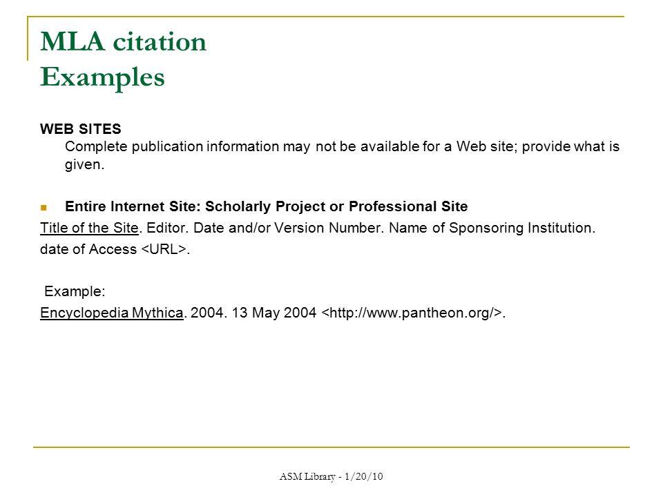 mla citation for a website