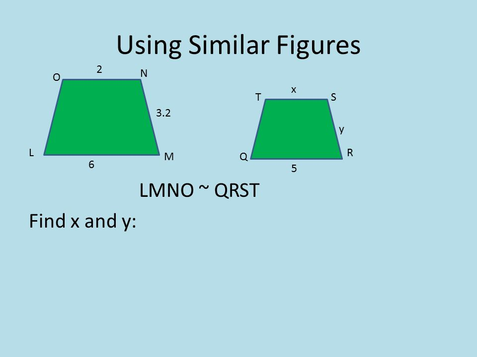 Using Similar Figures LMNO ~ QRST Find x and y: L M O N TS Q R x 5 y