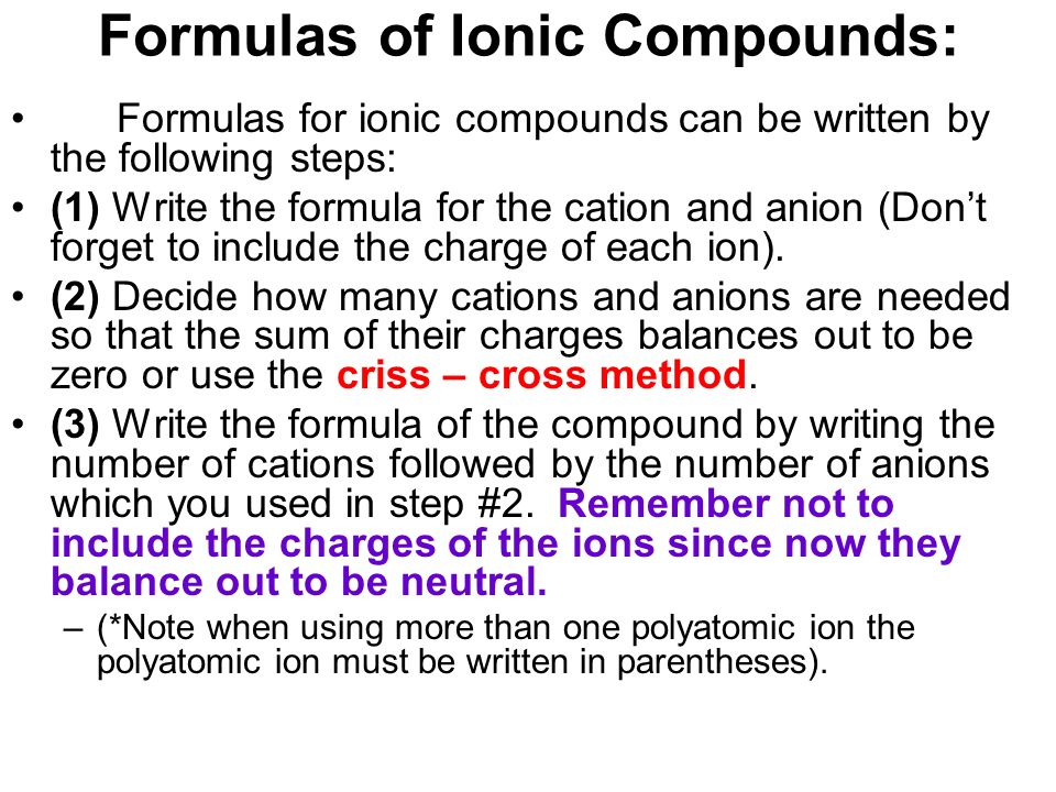 writing ionic compounds An ionic compound is one, which consists of an ionic bond an ionic compound usually consists of a metal and a non metal ionic compounds generally consist of a combination of metals with non metals.