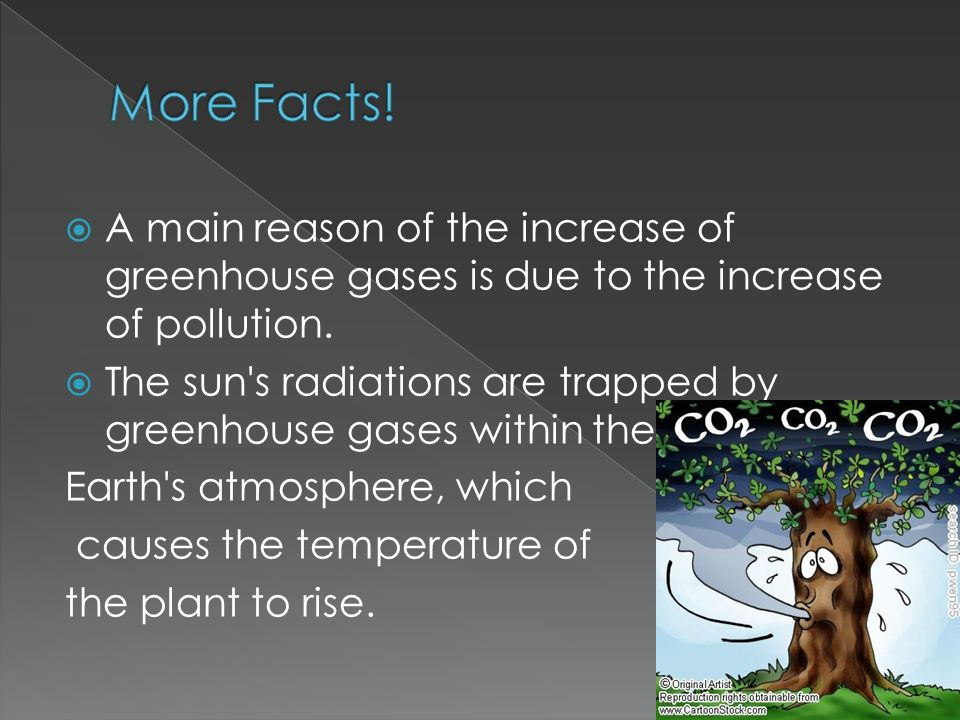  A main reason of the increase of greenhouse gases is due to the increase of pollution.