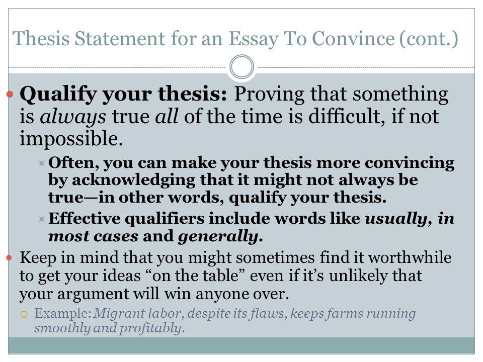 Argument Essay Thesis