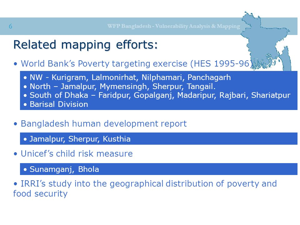 Wfp bangladesh vulnerability analysis mapping 1 food security wfp bangladesh vulnerability analysis mapping 6 related mapping efforts world banks poverty targeting gumiabroncs Image collections