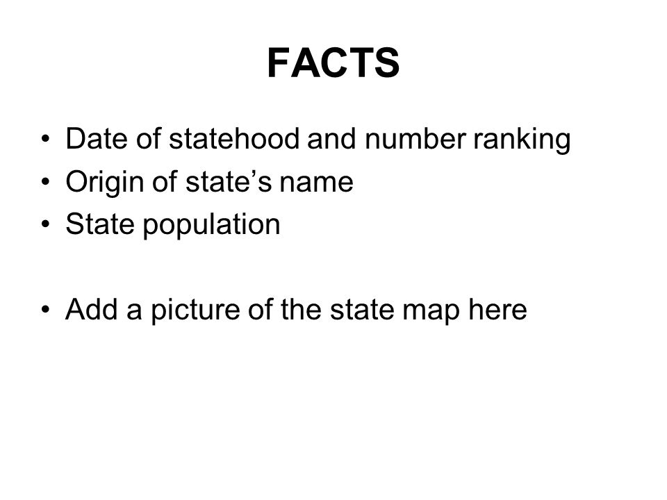FACTS Date of statehood and number ranking Origin of state's name State population Add a picture of the state map here