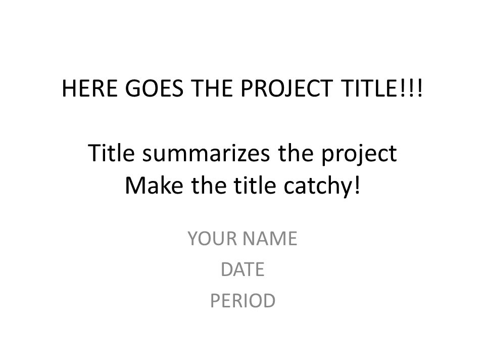 application project titles