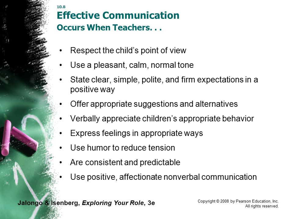 Jalongo & Isenberg, Exploring Your Role, 3e Copyright © 2008 by Pearson Education, Inc. All rights reserved. 10.8 Effective Communication Occurs When
