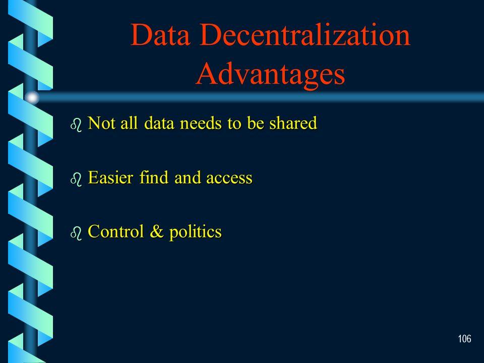 105 Data Centralization Advantages b b Easy backup b b Easier to Share b b Less duplication b b Security control\monitoring