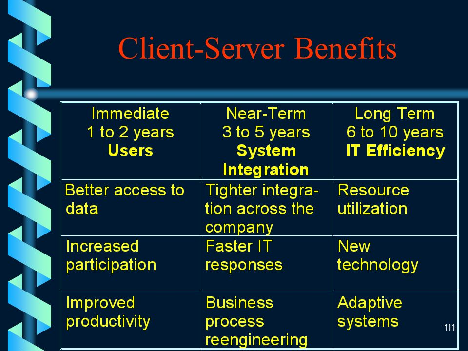 110 Intermediate (Client-Server) Marketing Accounting Finance Human Resource Management Central MIS staff: Operations, network and systems programmers Server Hardware Shared Data & Software MIS support Transaction processing Corporate standards Network management Shared databases