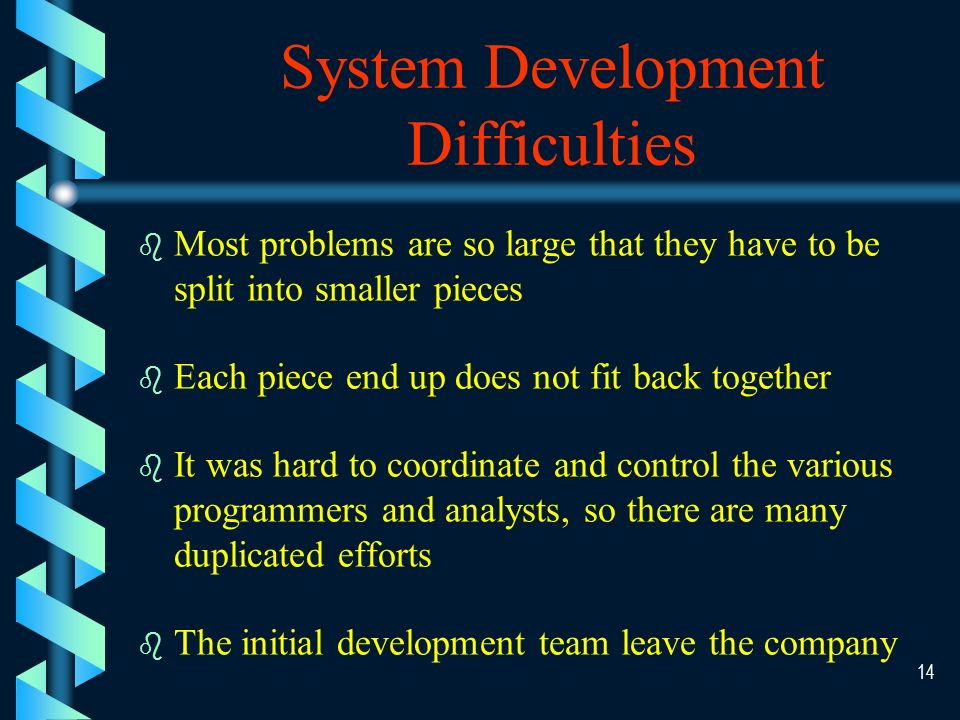 13 Once a poor system/process is identified, the next step is to develop a new system or modify the existing system
