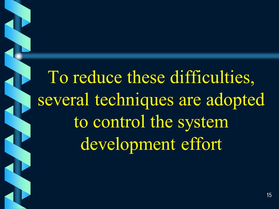14 System Development Difficulties b b Most problems are so large that they have to be split into smaller pieces b b Each piece end up does not fit back together b b It was hard to coordinate and control the various programmers and analysts, so there are many duplicated efforts b b The initial development team leave the company