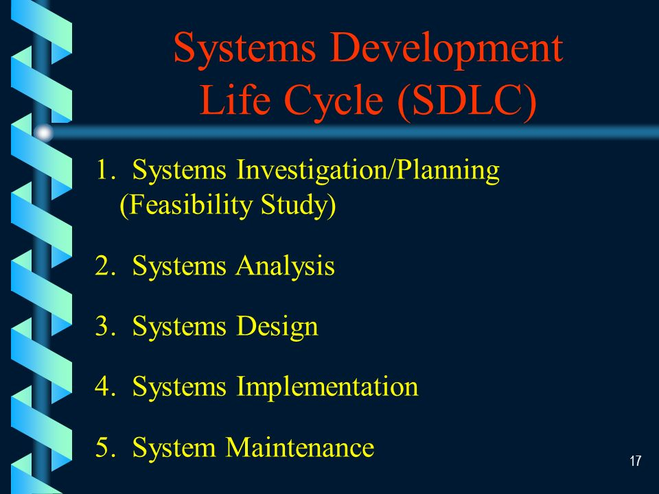 16 Techniques for System Development b System Development Life Cycle (SDLC) b Prototyping b Joint Application Development (JAD) b Object-Oriented Development b End User Development