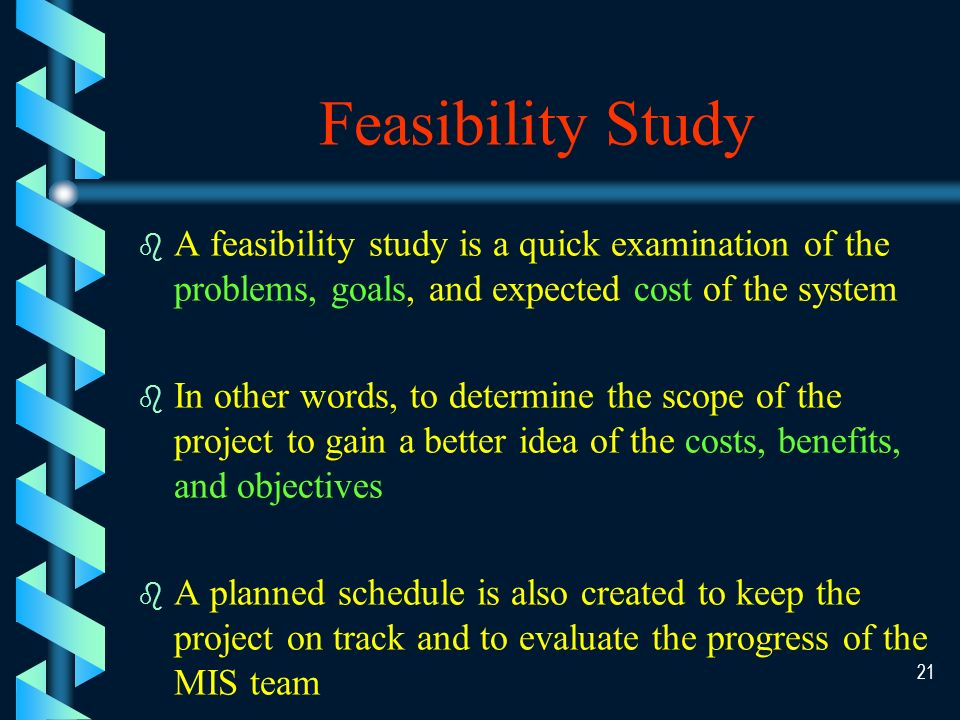 20 Phase I System Investigation/Planning (Feasibility Study)