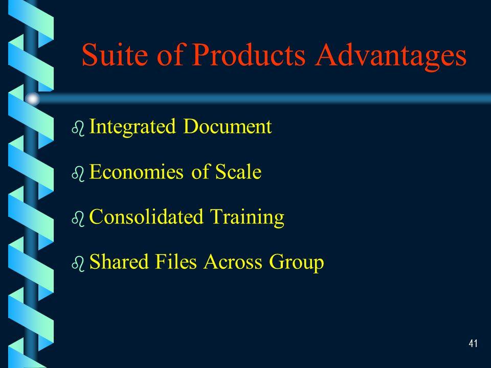 40 Suite of Products - Examples b b Microsoft Corporation – –Word – –Excel – –PowerPoint b b Lotus Development Corporation – –AmiPro – –Lotus 1-2-3 – –Freelance b b Novell/Borland – –WordPerfect – –Borland – –dBaseIV