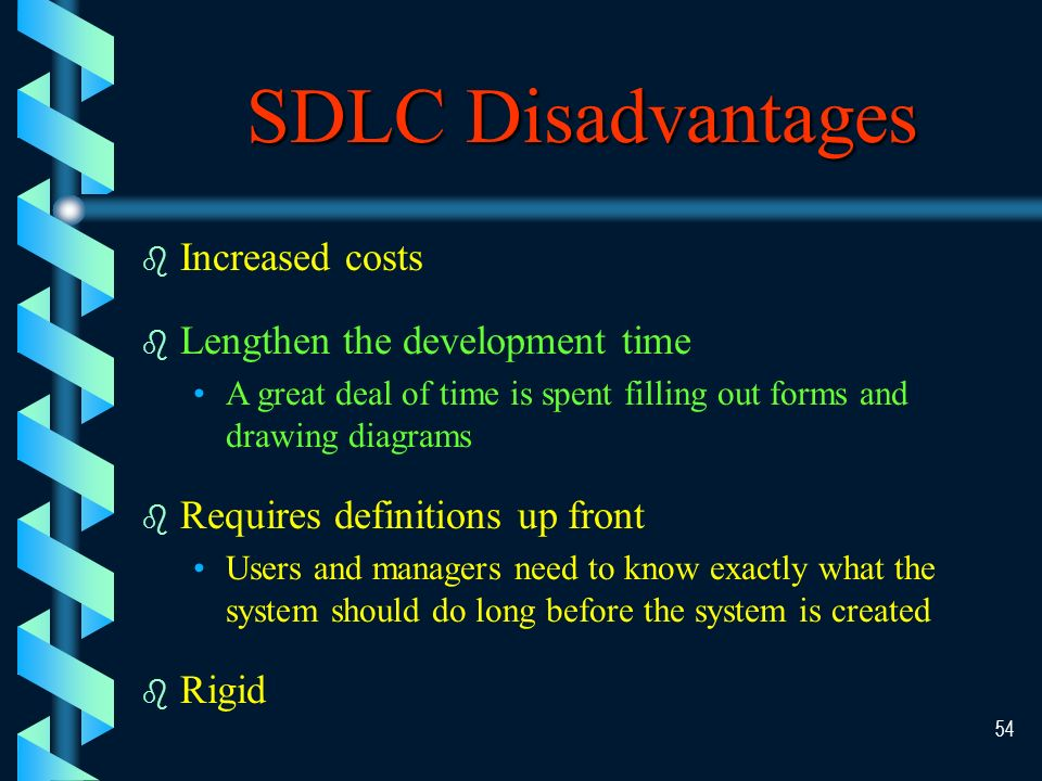 53 SDLC Advantages b Provide guidance and control b Formality Easier to train and evaluate the progress.