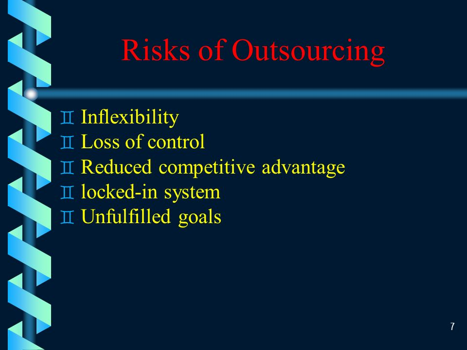 6 Benefits of Outsourcing ` Provide business solution ` Asset utilization ` Access to greater expertise and more advanced technology ` Lower Cost ` Improve development time ` Eliminate of peaks and valley usage ` Facilitation of downsizing
