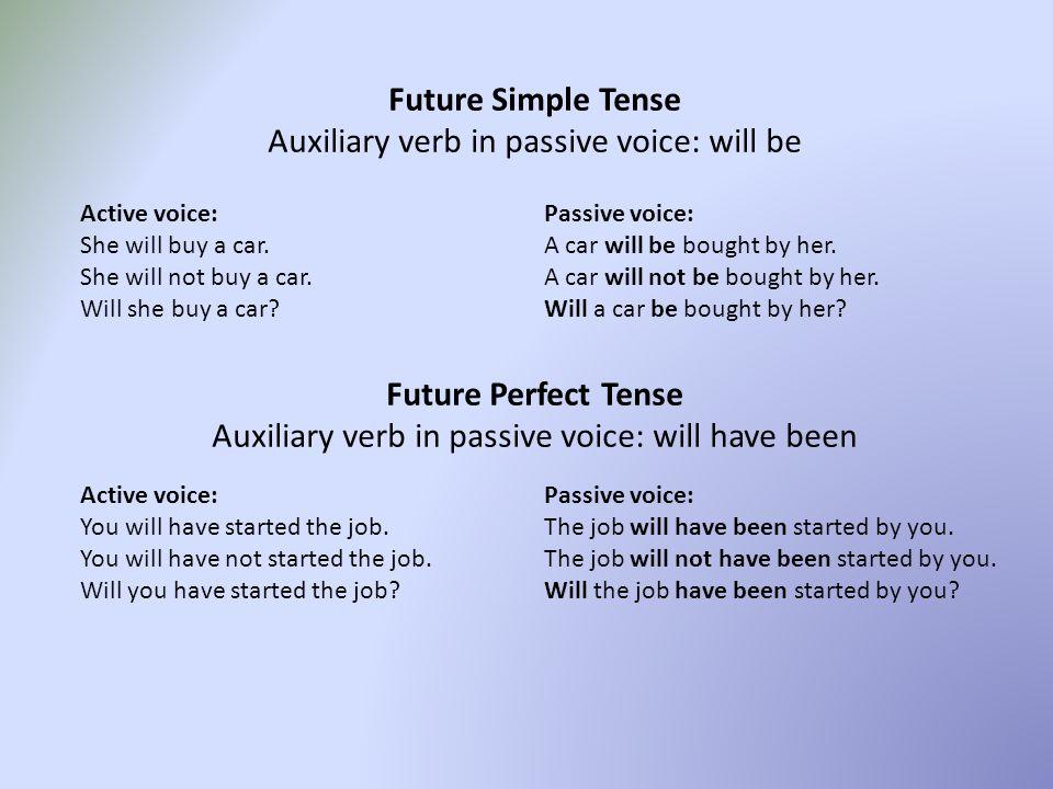PASSIVE VOICE Present Simple Tense Auxiliary verb in passive voice ...