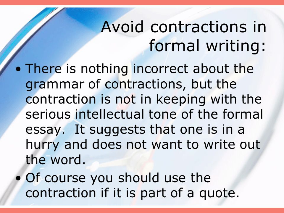 can you use contractions in a formal essay