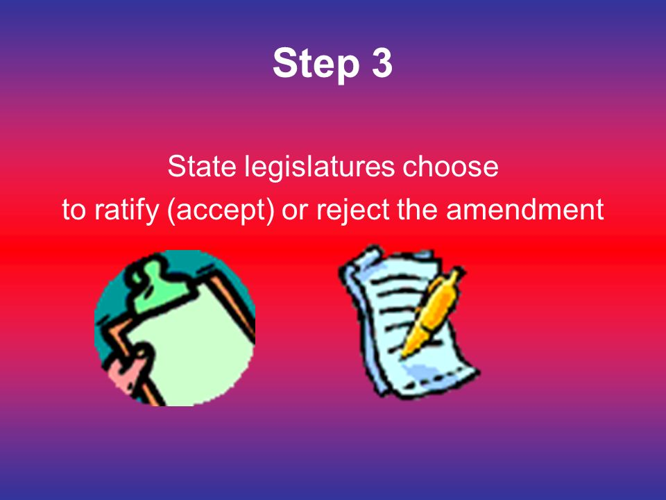 Step 3 State legislatures choose to ratify (accept) or reject the amendment