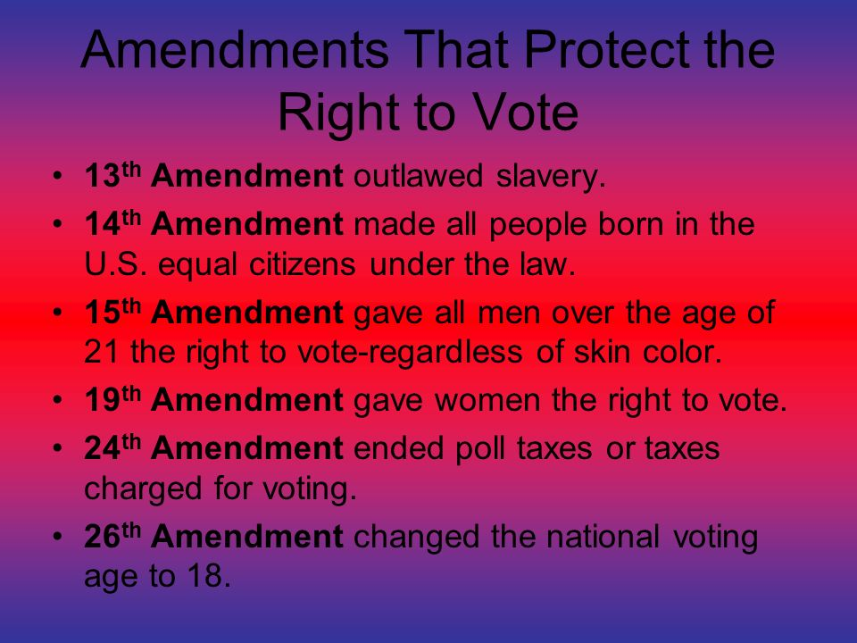 Amendments That Protect the Right to Vote 13 th Amendment outlawed slavery.