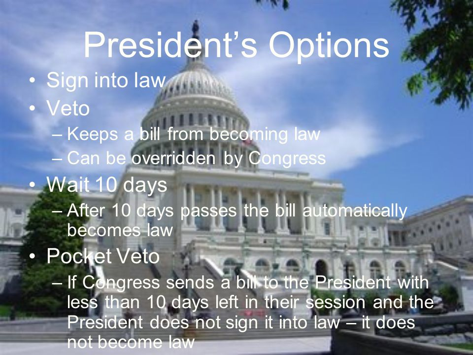 President's Options Sign into law Veto –Keeps a bill from becoming law –Can be overridden by Congress Wait 10 days –After 10 days passes the bill automatically becomes law Pocket Veto –If Congress sends a bill to the President with less than 10 days left in their session and the President does not sign it into law – it does not become law
