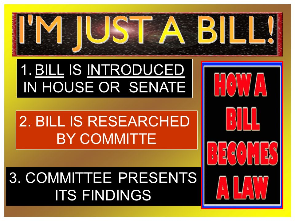 1.BILL IS INTRODUCED IN HOUSE OR SENATE 2. BILL IS RESEARCHED BY COMMITTE 3.