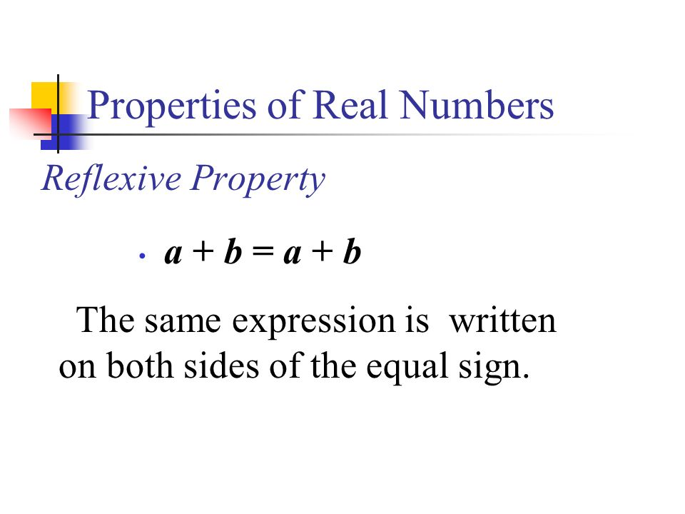 Properties of Real Numbers Reflexive Property a + b = a + b The same expression is written on both sides of the equal sign.