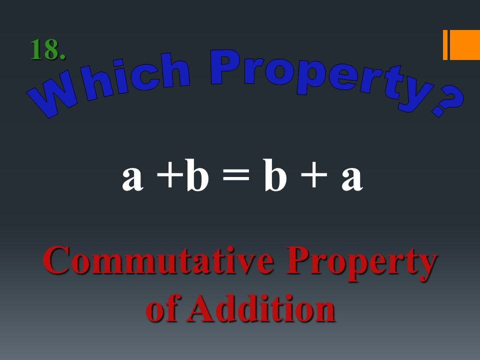 a1 = a Identity Property of Multiplication 17.
