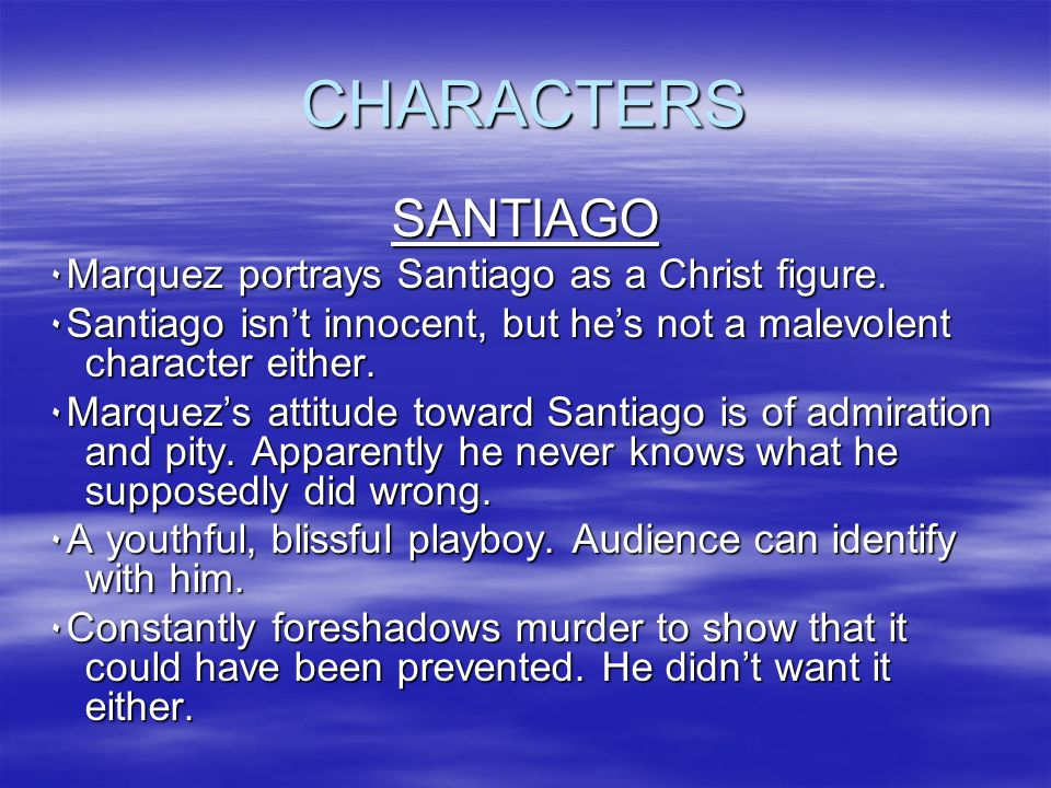 santiago as a christ figure essay Essay this part of the story has to do with santiago against nature and the sea in this part of the story, he goes out and fights nature in the form of terrible forces and dangerous creatures, among them, a marlin, sharks and hunger.