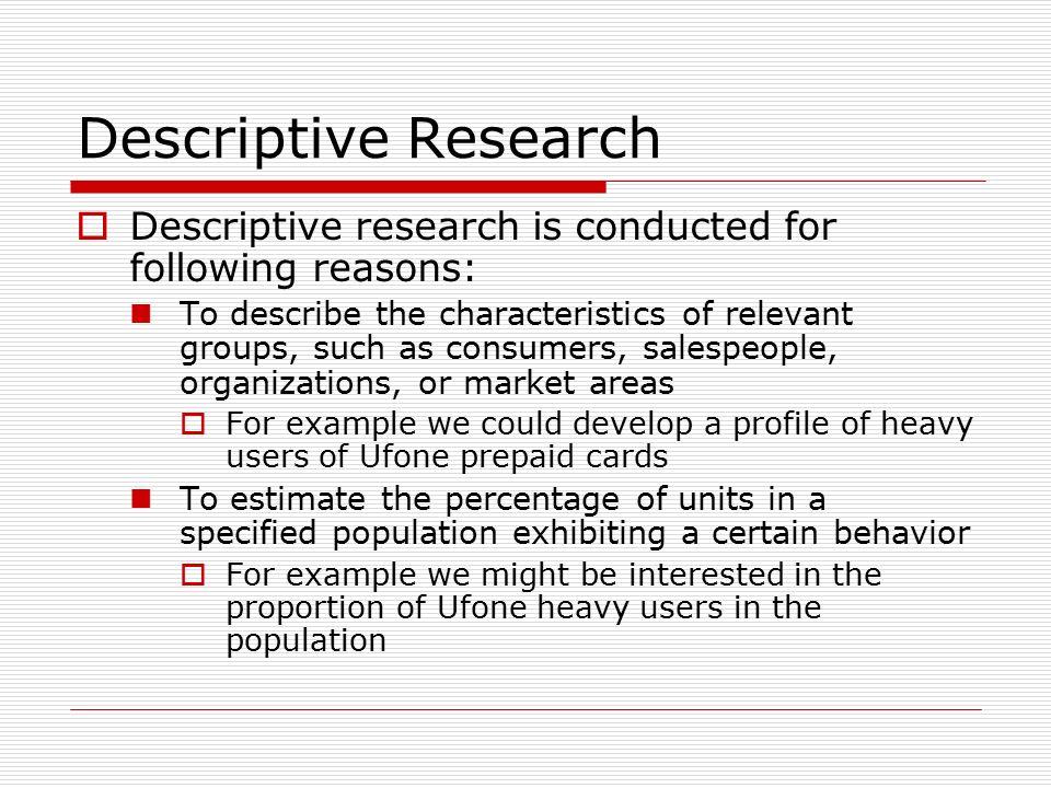 example descriptive research