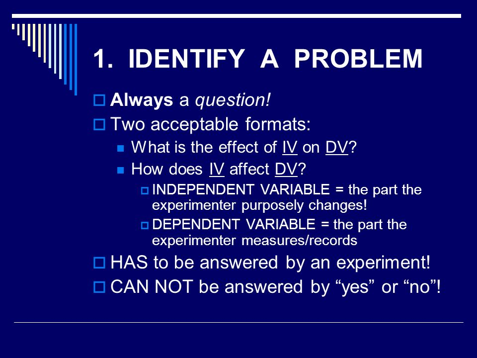 1. IDENTIFY A PROBLEM  Always a question.