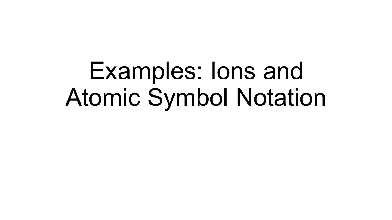 Examples Ions And Atomic Symbol Notation Example Determine The