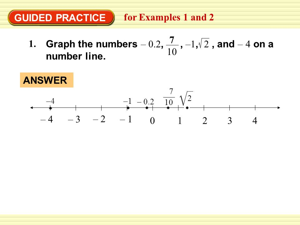 GUIDED PRACTICE for Examples 1 and 2 Graph the numbers – 0.2,, –1, 2, and – 4 on a number line.